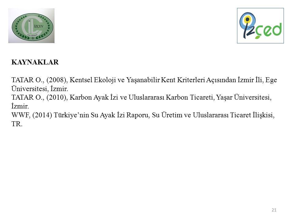 21 KAYNAKLAR TATAR O., (2008), Kentsel Ekoloji ve Yaşanabilir Kent Kriterleri Açısından İzmir İli, Ege Üniversitesi, İzmir.