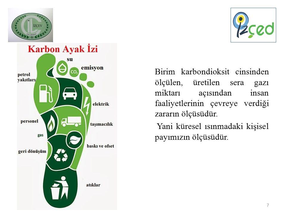 Birim karbondioksit cinsinden ölçülen, üretilen sera gazı miktarı açısından insan faaliyetlerinin çevreye verdiği zararın ölçüsüdür.