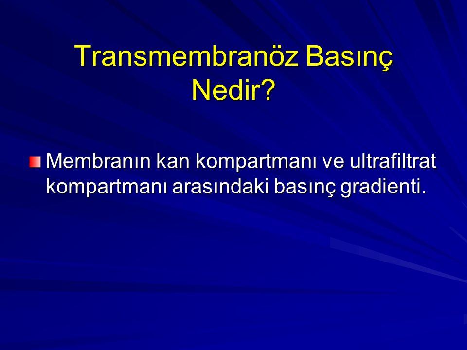 Transmembranöz Basınç Nedir? Membranın kan kompartmanı ve ultrafiltrat kompartmanı arasındaki basınç gradienti.