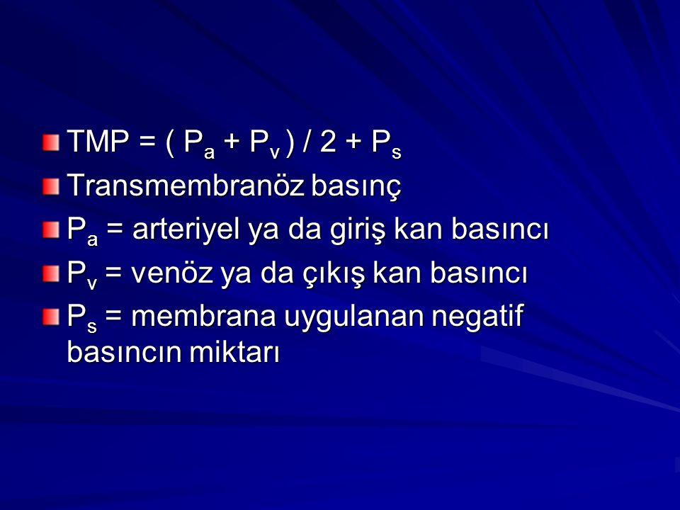 TMP = ( P a + P v ) / 2 + P s Transmembranöz basınç P a = arteriyel ya da giriş kan basıncı P v = venöz ya da çıkış kan basıncı P s = membrana uygulan
