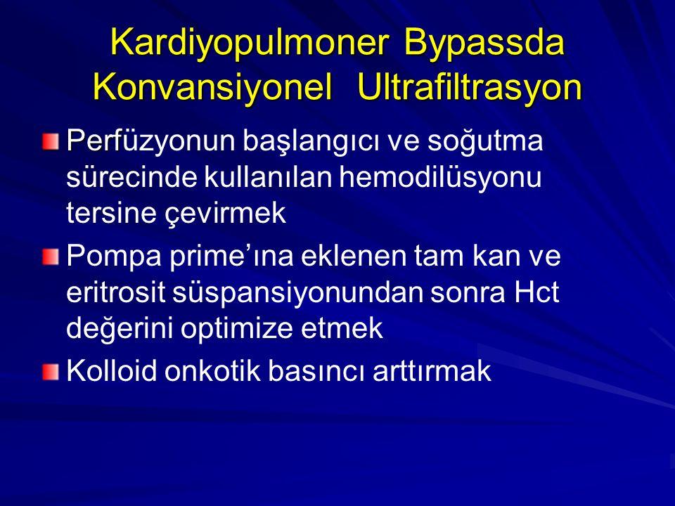 Kardiyopulmoner Bypassda Konvansiyonel Ultrafiltrasyon Perf Perfüzyonun başlangıcı ve soğutma sürecinde kullanılan hemodilüsyonu tersine çevirmek Pomp
