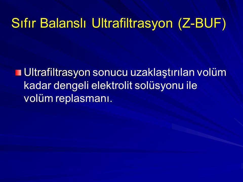 Sıfır Balanslı Ultrafiltrasyon (Z-BUF) Ultrafiltrasyon Ultrafiltrasyon sonucu uzaklaştırılan volüm kadar dengeli elektrolit solüsyonu ile volüm replas