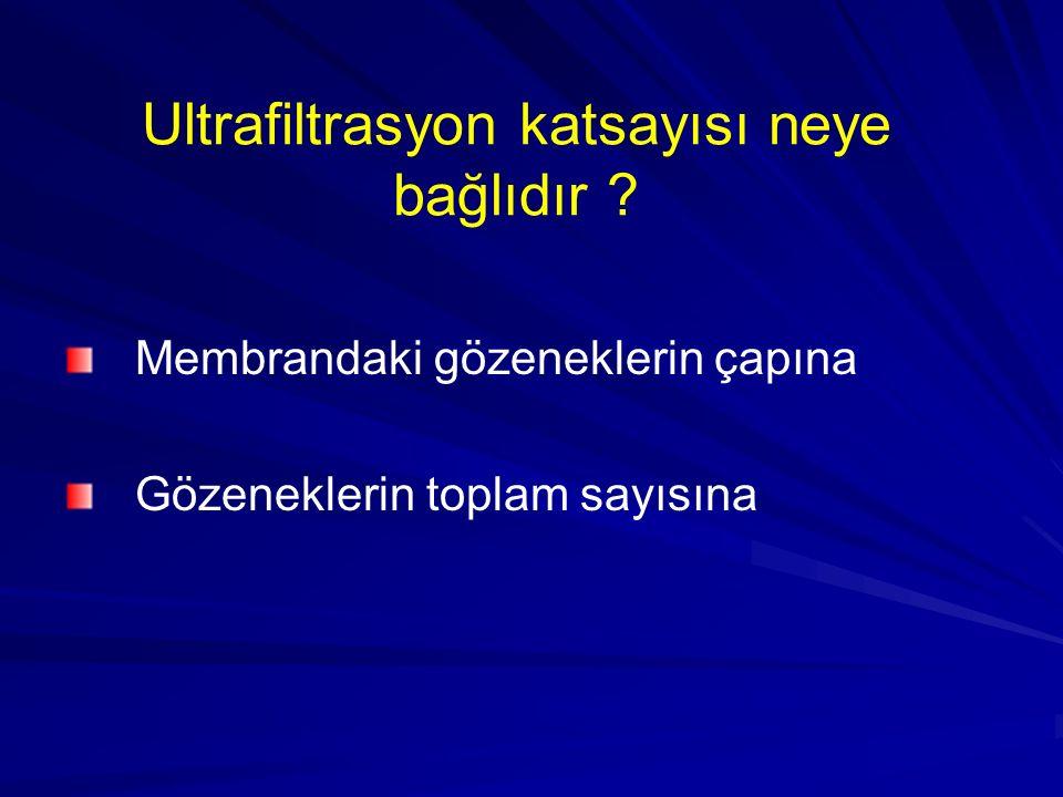 Ultrafiltrasyon katsayısı neye bağlıdır ? Membrandaki gözeneklerin çapına Gözeneklerin toplam sayısına