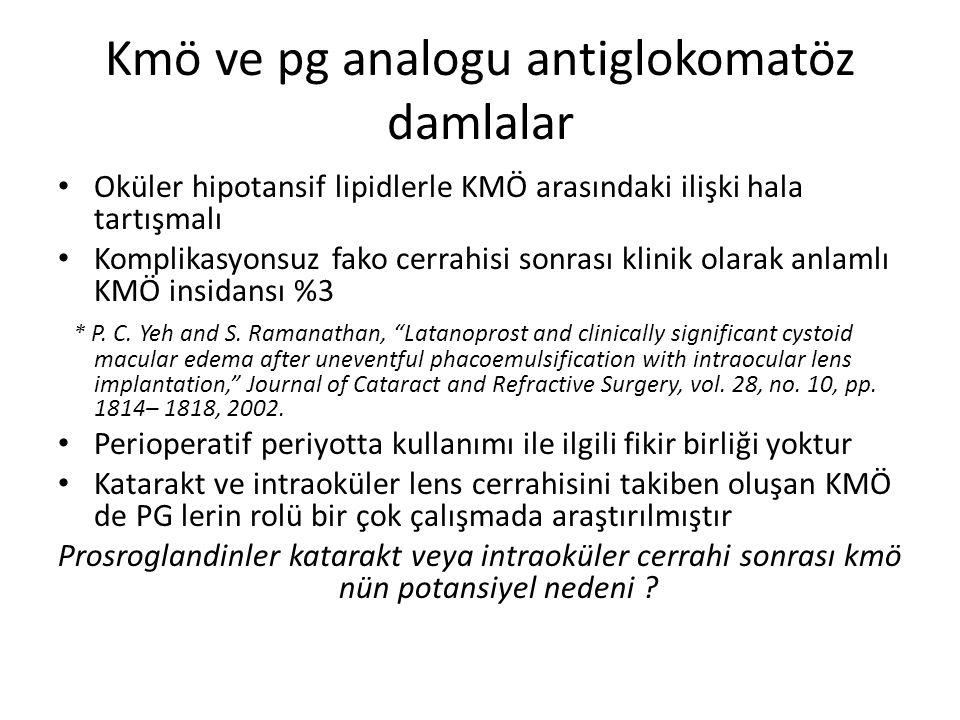 Kmö ve pg analogu antiglokomatöz damlalar Oküler hipotansif lipidlerle KMÖ arasındaki ilişki hala tartışmalı Komplikasyonsuz fako cerrahisi sonrası kl