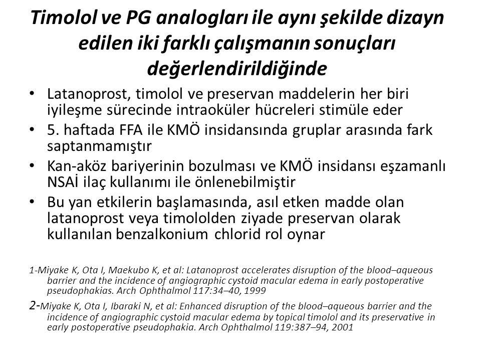 Timolol ve PG analogları ile aynı şekilde dizayn edilen iki farklı çalışmanın sonuçları değerlendirildiğinde Latanoprost, timolol ve preservan maddele