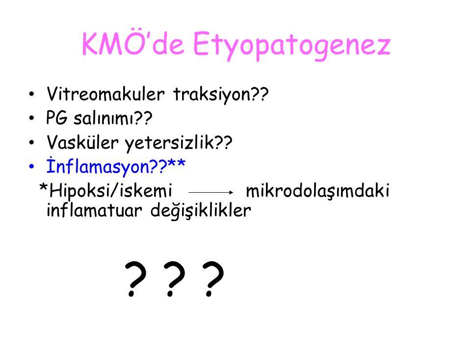 KMÖ'de Etyopatogenez Vitreomakuler traksiyon?? PG salınımı?? Vasküler yetersizlik?? İnflamasyon??** *Hipoksi/iskemi mikrodolaşımdaki inflamatuar değiş
