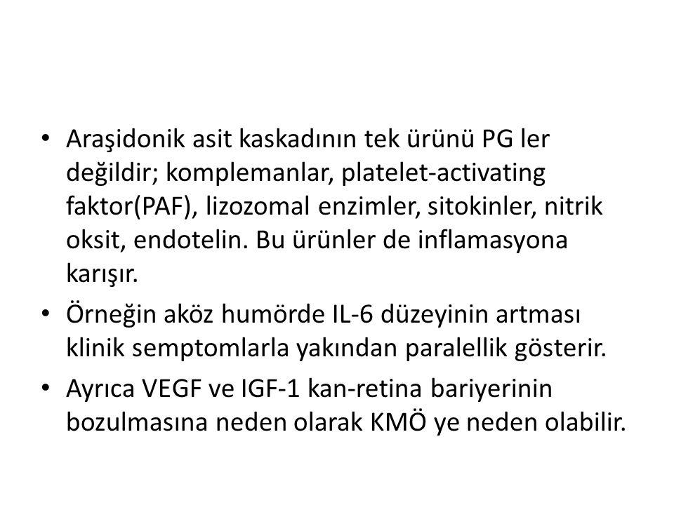 Araşidonik asit kaskadının tek ürünü PG ler değildir; komplemanlar, platelet-activating faktor(PAF), lizozomal enzimler, sitokinler, nitrik oksit, end