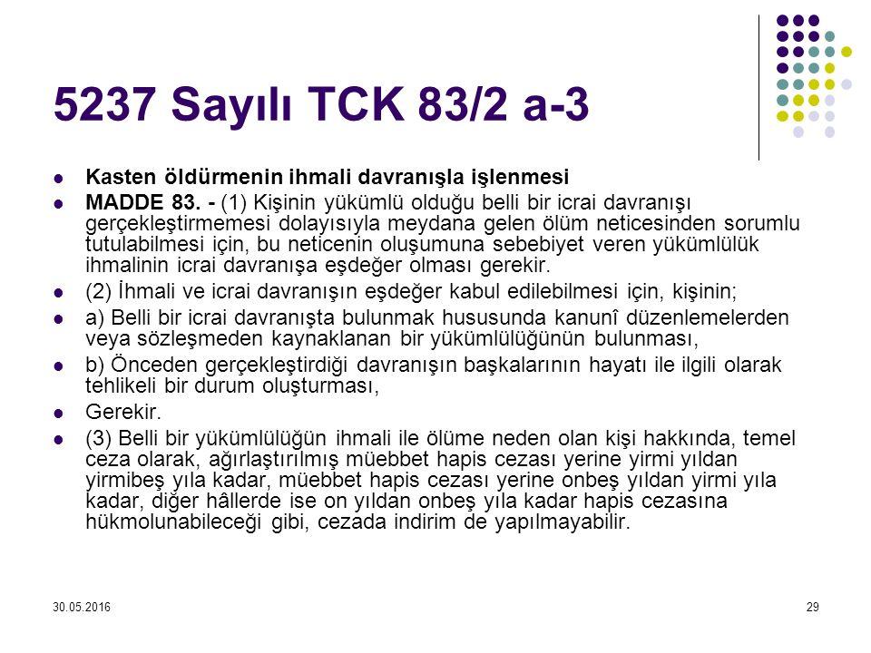 30.05.201629 5237 Sayılı TCK 83/2 a-3 Kasten öldürmenin ihmali davranışla işlenmesi MADDE 83. - (1) Kişinin yükümlü olduğu belli bir icrai davranışı g