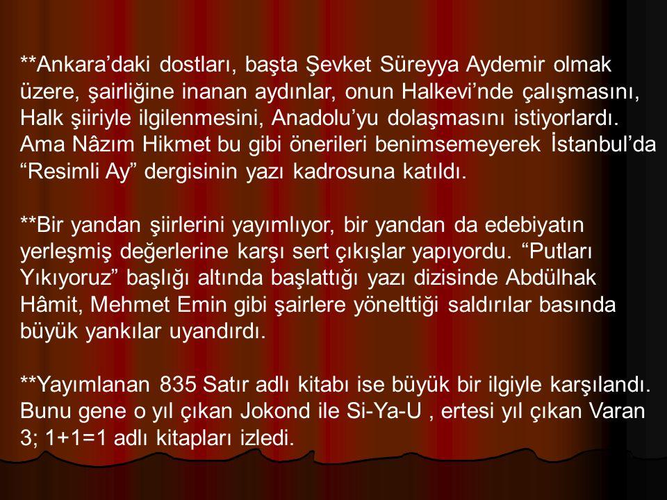 **Ankara'daki dostları, başta Şevket Süreyya Aydemir olmak üzere, şairliğine inanan aydınlar, onun Halkevi'nde çalışmasını, Halk şiiriyle ilgilenmesin
