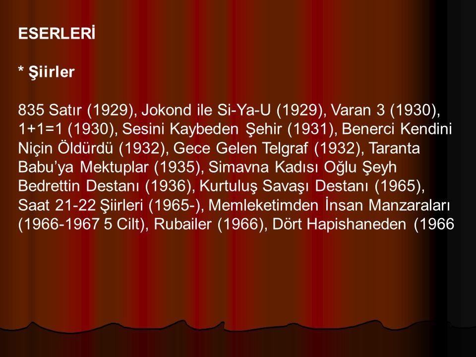 ESERLERİ * Şiirler 835 Satır (1929), Jokond ile Si-Ya-U (1929), Varan 3 (1930), 1+1=1 (1930), Sesini Kaybeden Şehir (1931), Benerci Kendini Niçin Öldü