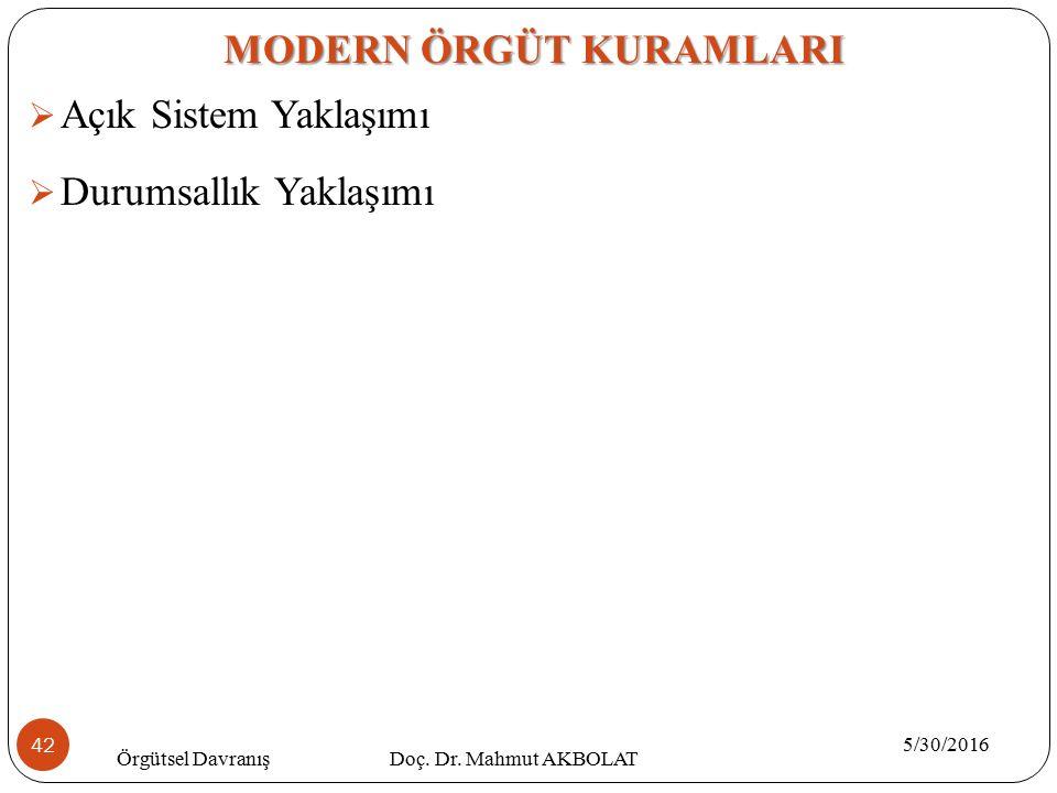  Açık Sistem Yaklaşımı  Durumsallık Yaklaşımı MODERN ÖRGÜT KURAMLARI 5/30/2016 Örgütsel Davranış Doç. Dr. Mahmut AKBOLAT 42
