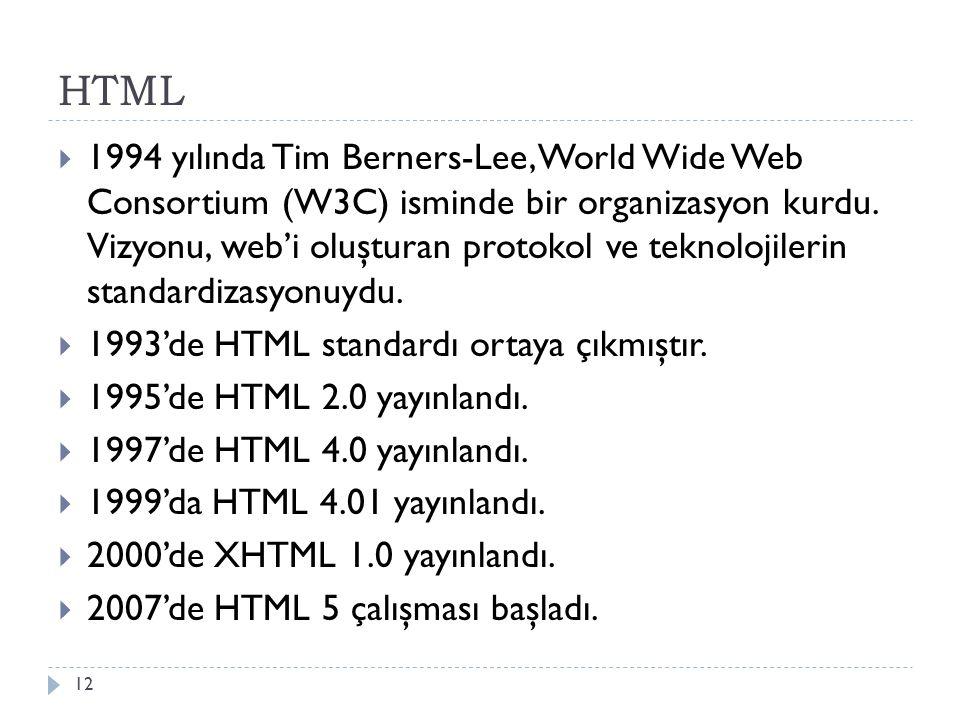 HTML  1994 yılında Tim Berners-Lee, World Wide Web Consortium (W3C) isminde bir organizasyon kurdu. Vizyonu, web'i oluşturan protokol ve teknolojiler