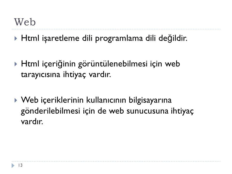 Web  Html işaretleme dili programlama dili de ğ ildir.  Html içeri ğ inin görüntülenebilmesi için web tarayıcısına ihtiyaç vardır.  Web içeriklerin