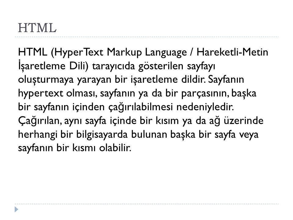 HTML (HyperText Markup Language / Hareketli-Metin İ şaretleme Dili) tarayıcıda gösterilen sayfayı oluşturmaya yarayan bir işaretleme dildir. Sayfanın