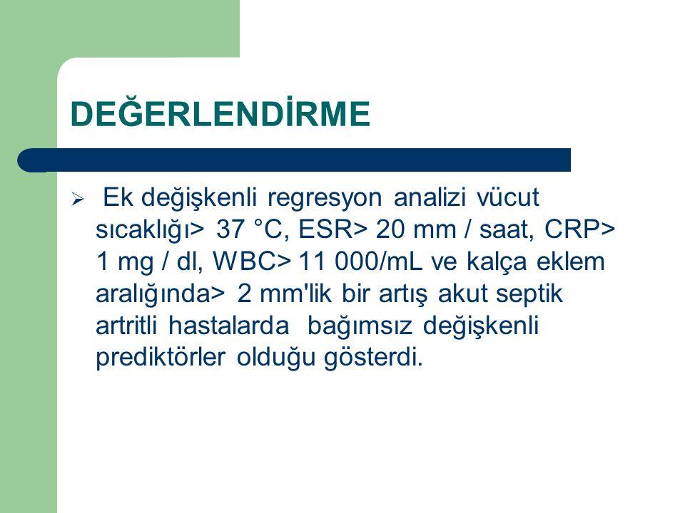 DEĞERLENDİRME  Ek değişkenli regresyon analizi vücut sıcaklığı> 37 °C, ESR> 20 mm / saat, CRP> 1 mg / dl, WBC> 11 000/mL ve kalça eklem aralığında> 2