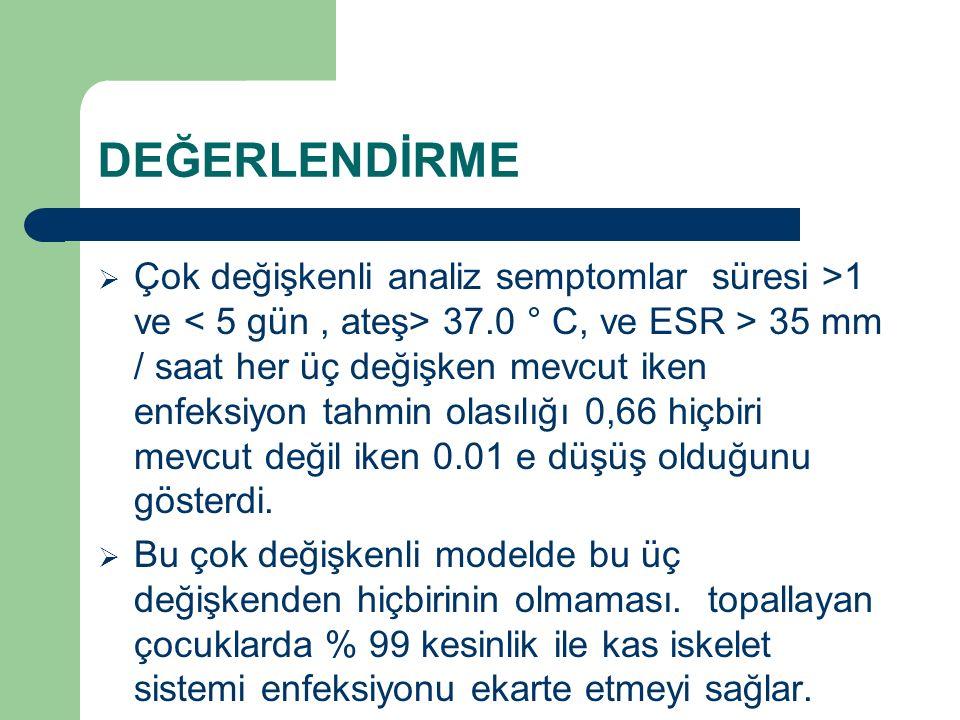DEĞERLENDİRME  Çok değişkenli analiz semptomlar süresi >1 ve 37.0 ° C, ve ESR > 35 mm / saat her üç değişken mevcut iken enfeksiyon tahmin olasılığı