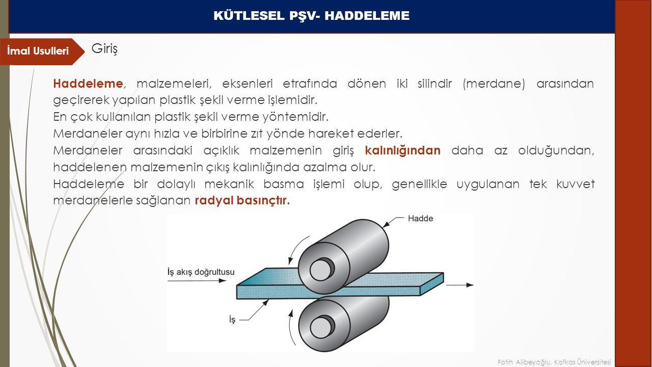 Haddeleme, malzemeleri, eksenleri etrafında dönen iki silindir (merdane) arasından geçirerek yapılan plastik şekil verme işlemidir.