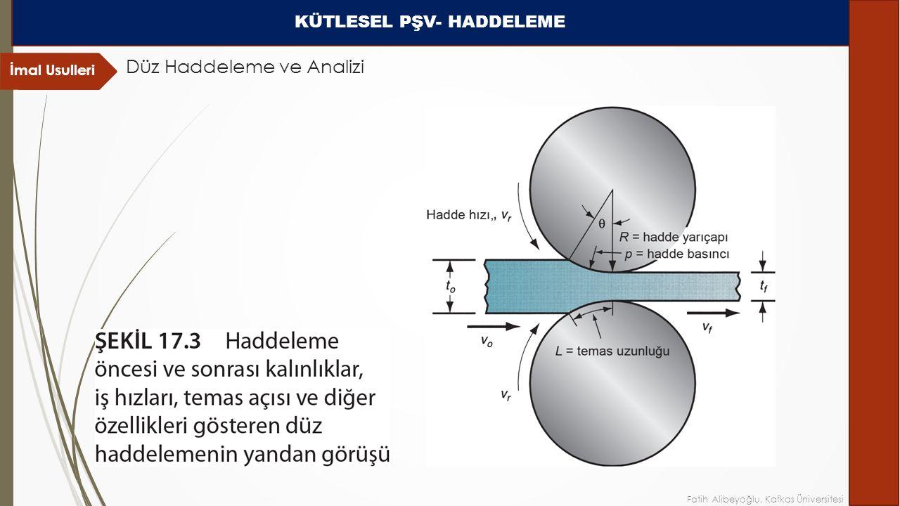 İmal Usulleri Düz Haddeleme ve Analizi KÜTLESEL PŞV- HADDELEME Fatih Alibeyoğlu, Kafkas Üniversitesi