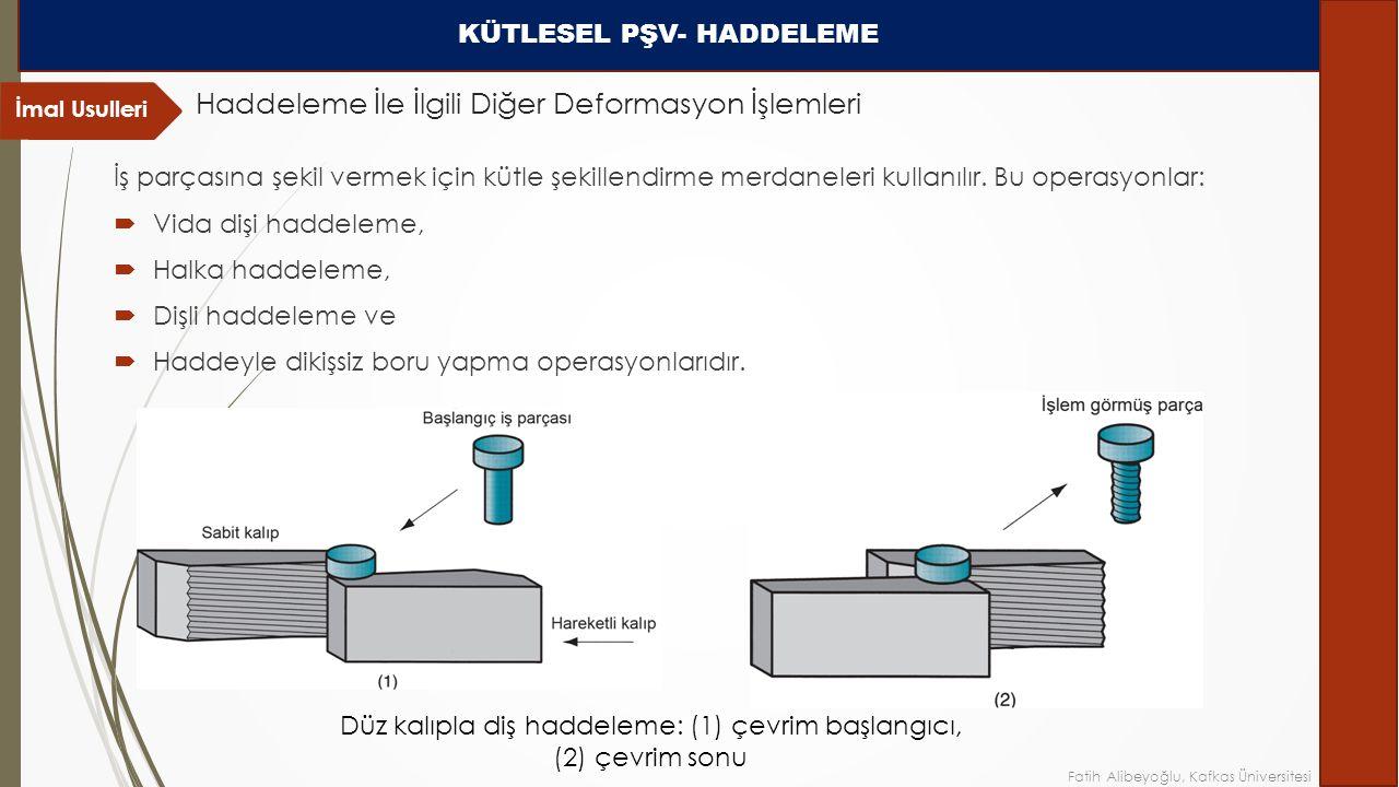 İş parçasına şekil vermek için kütle şekillendirme merdaneleri kullanılır.