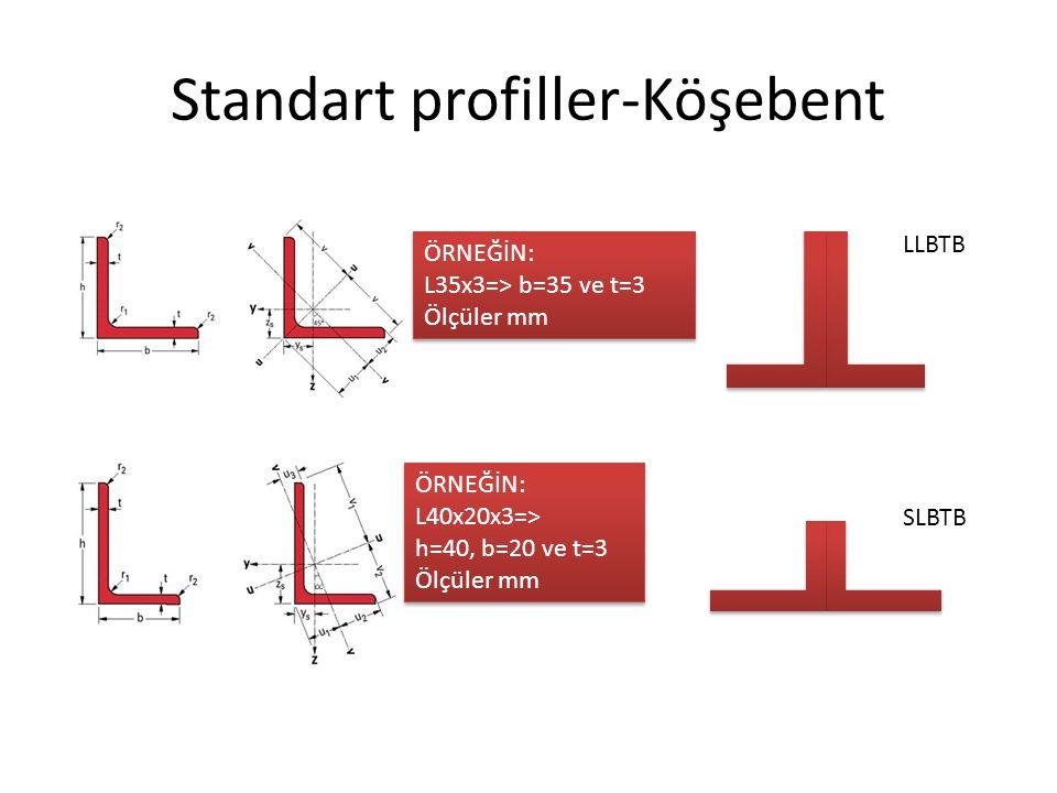 Standart profiller-Köşebent ÖRNEĞİN: L35x3=> b=35 ve t=3 Ölçüler mm ÖRNEĞİN: L35x3=> b=35 ve t=3 Ölçüler mm ÖRNEĞİN: L40x20x3=> h=40, b=20 ve t=3 Ölçü