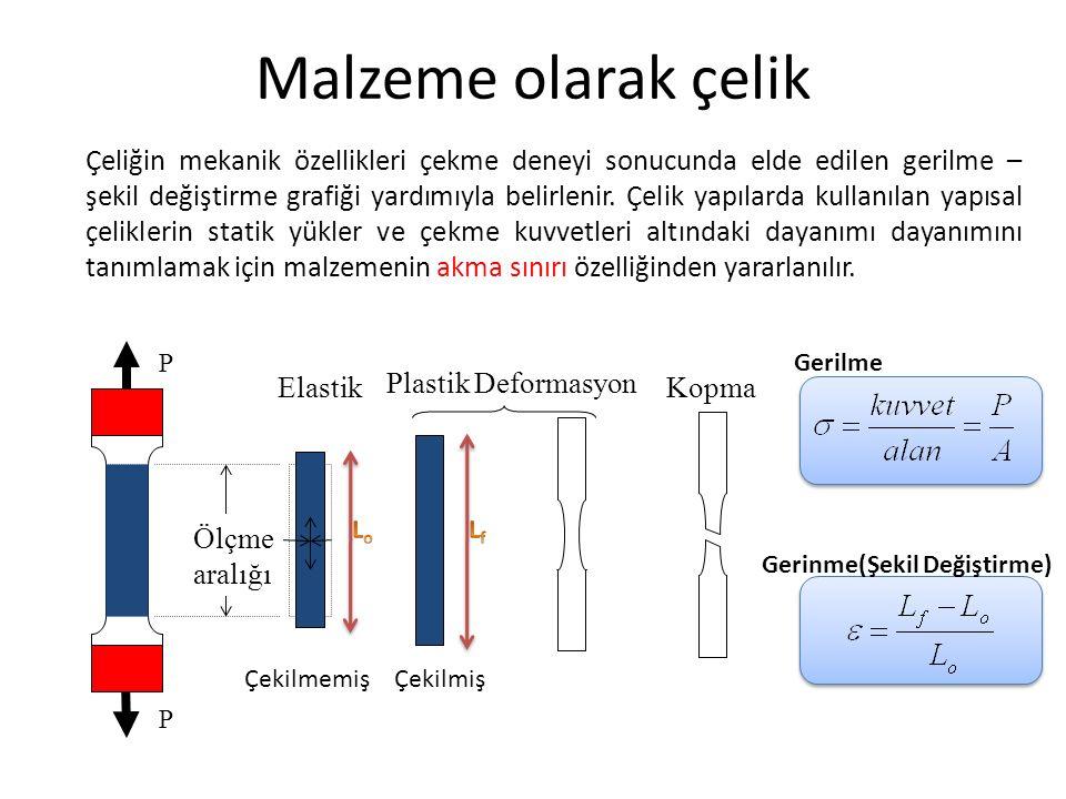 Çeliğin mekanik özellikleri çekme deneyi sonucunda elde edilen gerilme – şekil değiştirme grafiği yardımıyla belirlenir. Çelik yapılarda kullanılan ya