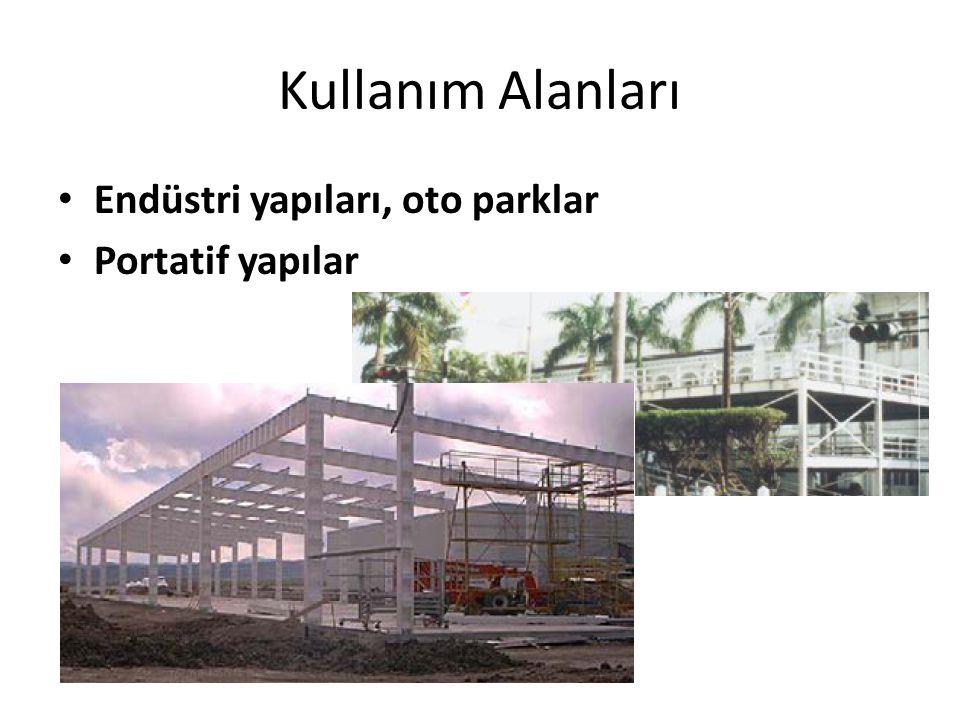 Kullanım Alanları Endüstri yapıları, oto parklar Portatif yapılar