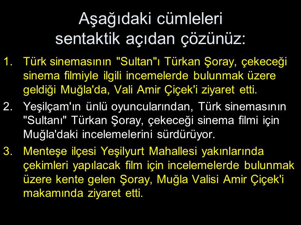 Aşağıdaki cümleleri sentaktik açıdan çözünüz: 1.Türk sinemasının Sultan ı Türkan Şoray, çekeceği sinema filmiyle ilgili incemelerde bulunmak üzere geldiği Muğla da, Vali Amir Çiçek i ziyaret etti.