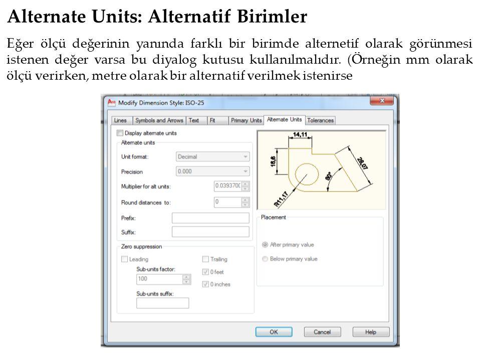Alternate Units: Alternatif Birimler Eğer ölçü değerinin yanında farklı bir birimde alternetif olarak görünmesi istenen değer varsa bu diyalog kutusu kullanılmalıdır.