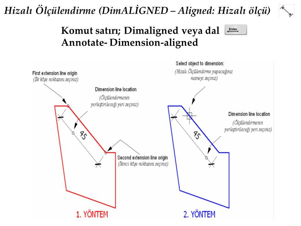 Hizalı Ölçülendirme (DimALİGNED – Aligned: Hizalı ölçü) Komut satırı; Dimaligned veya dal Annotate- Dimension-aligned