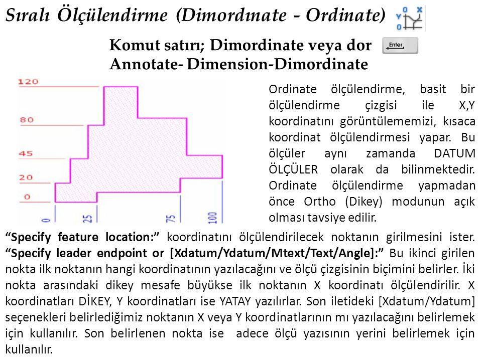 Sıralı Ölçülendirme (Dimordınate - Ordinate) Komut satırı; Dimordinate veya dor Annotate- Dimension-Dimordinate Ordinate ölçülendirme, basit bir ölçülendirme çizgisi ile X,Y koordinatını görüntülememizi, kısaca koordinat ölçülendirmesi yapar.