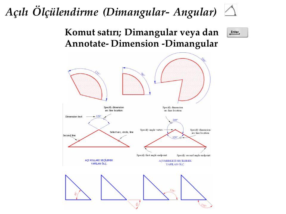 Açılı Ölçülendirme (Dimangular- Angular) Komut satırı; Dimangular veya dan Annotate- Dimension -Dimangular