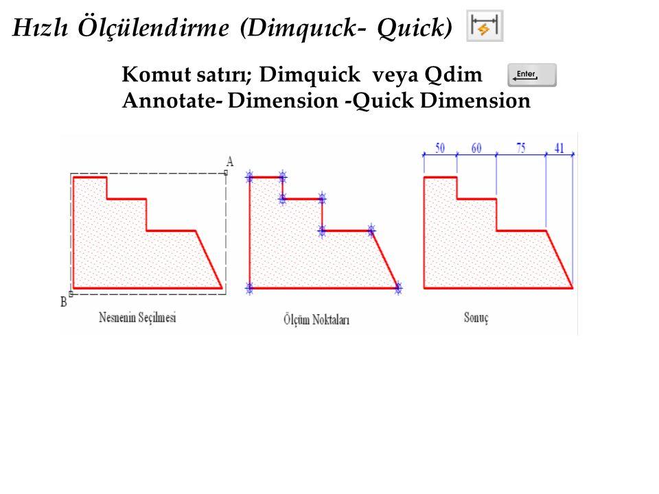 Hızlı Ölçülendirme (Dimquıck- Quick) Komut satırı; Dimquick veya Qdim Annotate- Dimension -Quick Dimension