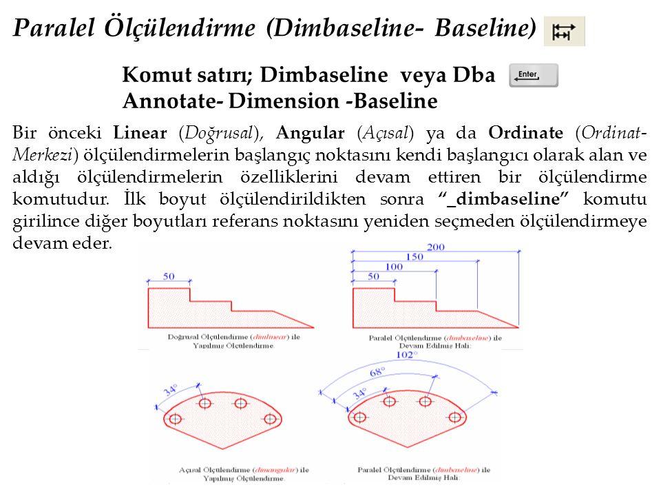 Paralel Ölçülendirme (Dimbaseline- Baseline) Komut satırı; Dimbaseline veya Dba Annotate- Dimension -Baseline Bir önceki Linear (Doğrusal), Angular (Açısal) ya da Ordinate (Ordinat- Merkezi) ölçülendirmelerin başlangıç noktasını kendi başlangıcı olarak alan ve aldığı ölçülendirmelerin özelliklerini devam ettiren bir ölçülendirme komutudur.