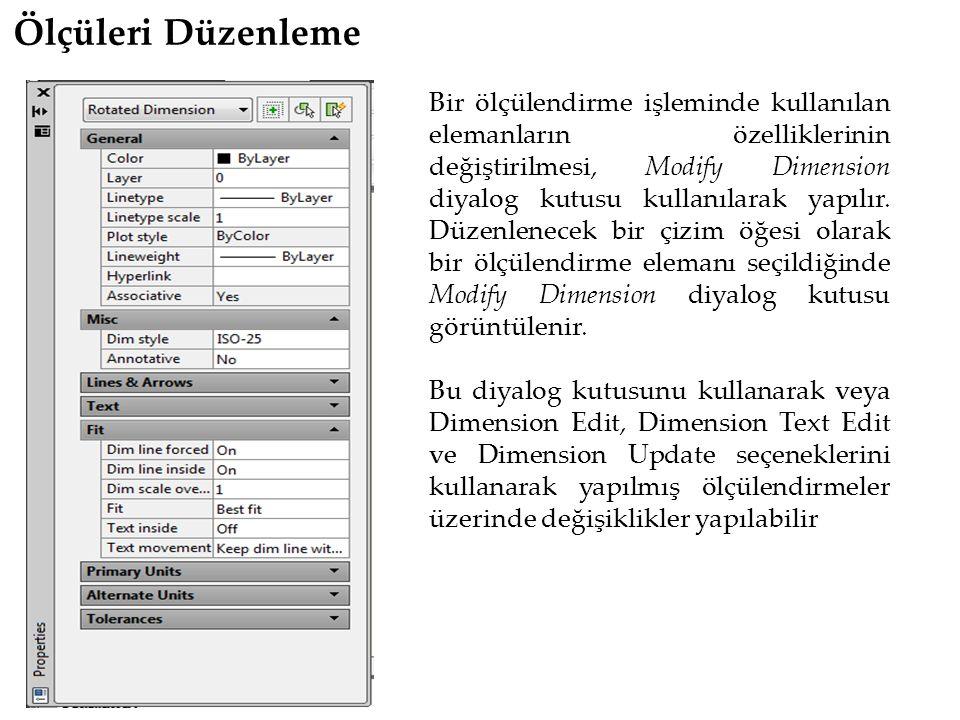 Ölçüleri Düzenleme Bir ölçülendirme işleminde kullanılan elemanların özelliklerinin değiştirilmesi, Modify Dimension diyalog kutusu kullanılarak yapılır.