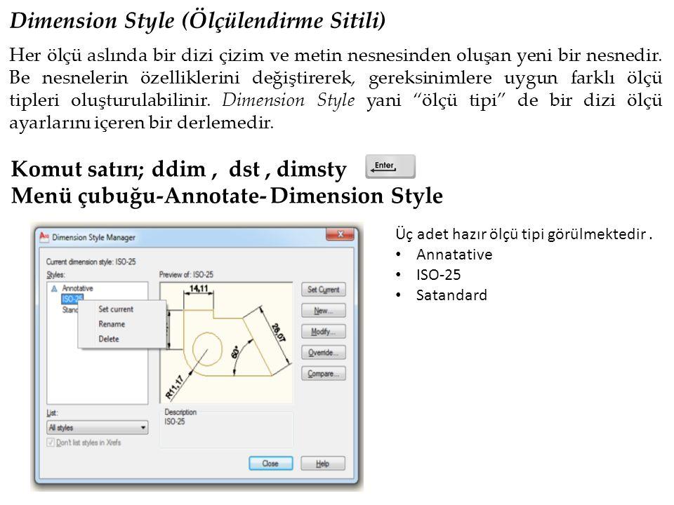 Ölçü Metnini Düzenleme (Dımtedıt ) Komut satırı; Dimtedit veya Dtect Annotate- Dimesion-Text Edit Command: dimtedit Select dimension: Specify new location for dimension text or [Left/Right/Center/Home/Angle]: left