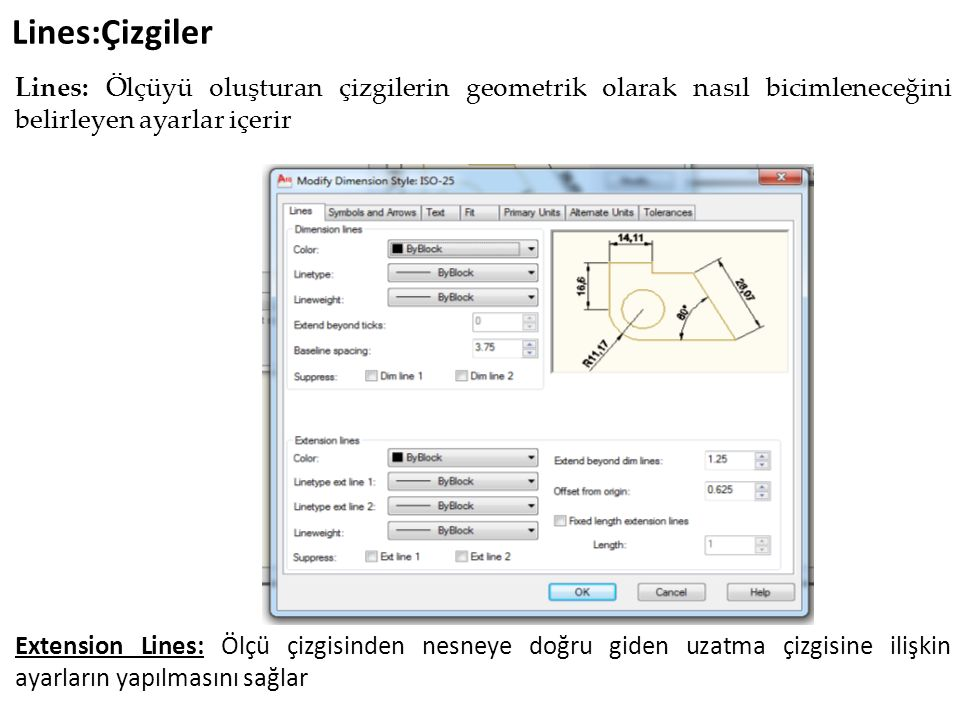 Çap Ölçülendirme (Dimdıameter - Diameter) Komut satırı; Dimdiameter veya ddi Annotate- Dimension -Dimdıameter