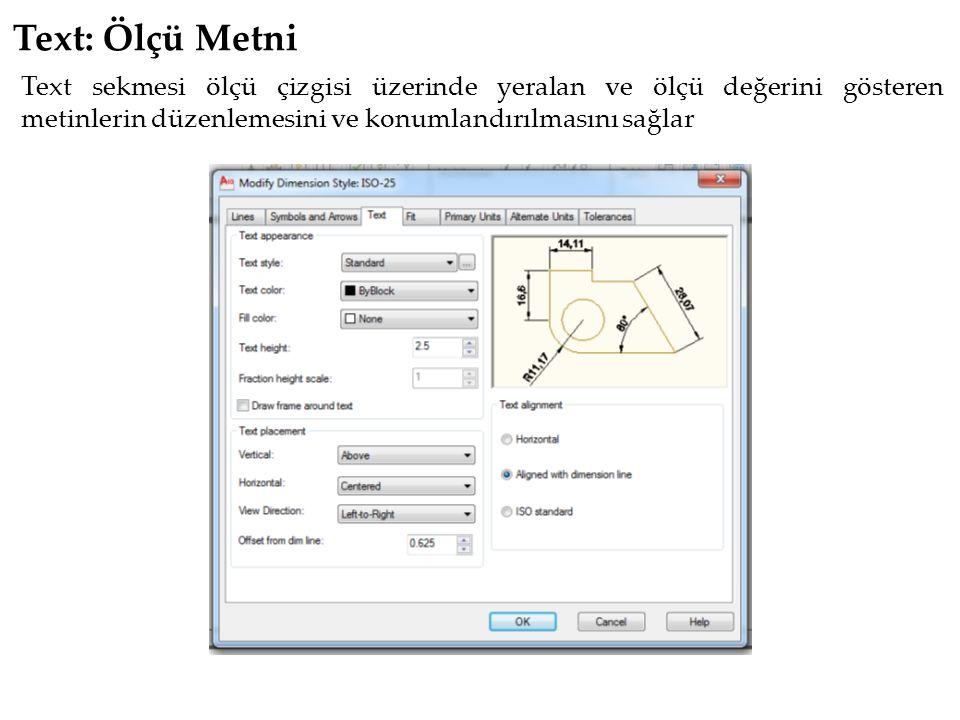 Text: Ölçü Metni Text sekmesi ölçü çizgisi üzerinde yeralan ve ölçü değerini gösteren metinlerin düzenlemesini ve konumlandırılmasını sağlar