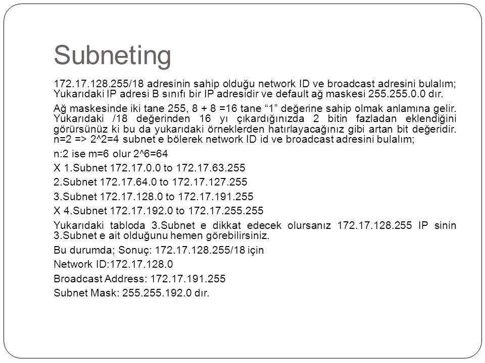 Subneting 172.17.128.255/18 adresinin sahip olduğu network ID ve broadcast adresini bulalım; Yukarıdaki IP adresi B sınıfı bir IP adresidir ve default ağ maskesi 255.255.0.0 dır.