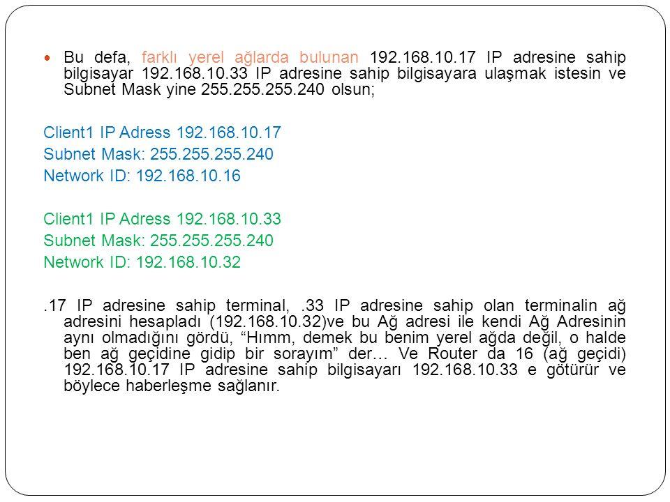 Bu defa, farklı yerel ağlarda bulunan 192.168.10.17 IP adresine sahip bilgisayar 192.168.10.33 IP adresine sahip bilgisayara ulaşmak istesin ve Subnet Mask yine 255.255.255.240 olsun; Client1 IP Adress 192.168.10.17 Subnet Mask: 255.255.255.240 Network ID: 192.168.10.16 Client1 IP Adress 192.168.10.33 Subnet Mask: 255.255.255.240 Network ID: 192.168.10.32.17 IP adresine sahip terminal,.33 IP adresine sahip olan terminalin ağ adresini hesapladı (192.168.10.32)ve bu Ağ adresi ile kendi Ağ Adresinin aynı olmadığını gördü, Hımm, demek bu benim yerel ağda değil, o halde ben ağ geçidine gidip bir sorayım der… Ve Router da 16 (ağ geçidi) 192.168.10.17 IP adresine sahip bilgisayarı 192.168.10.33 e götürür ve böylece haberleşme sağlanır.