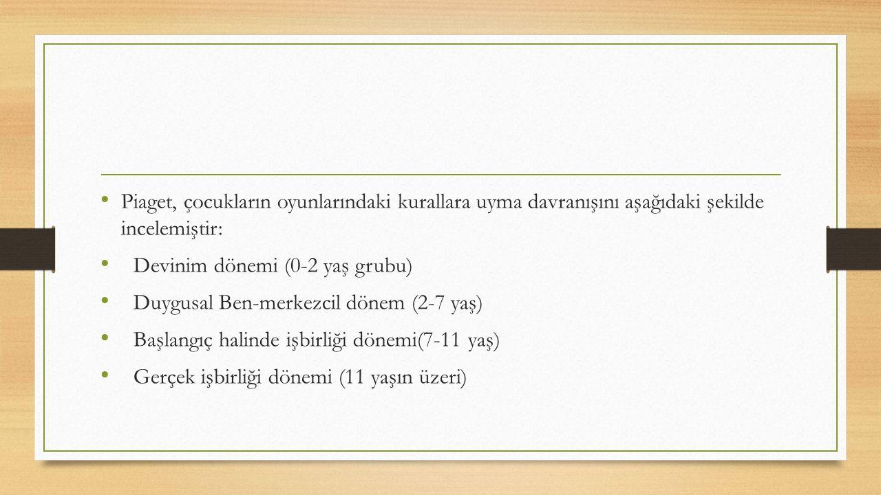 Piaget, çocukların oyunlarındaki kurallara uyma davranışını aşağıdaki şekilde incelemiştir: Devinim dönemi (0-2 yaş grubu) Duygusal Ben-merkezcil dönem (2-7 yaş) Başlangıç halinde işbirliği dönemi(7-11 yaş) Gerçek işbirliği dönemi (11 yaşın üzeri)
