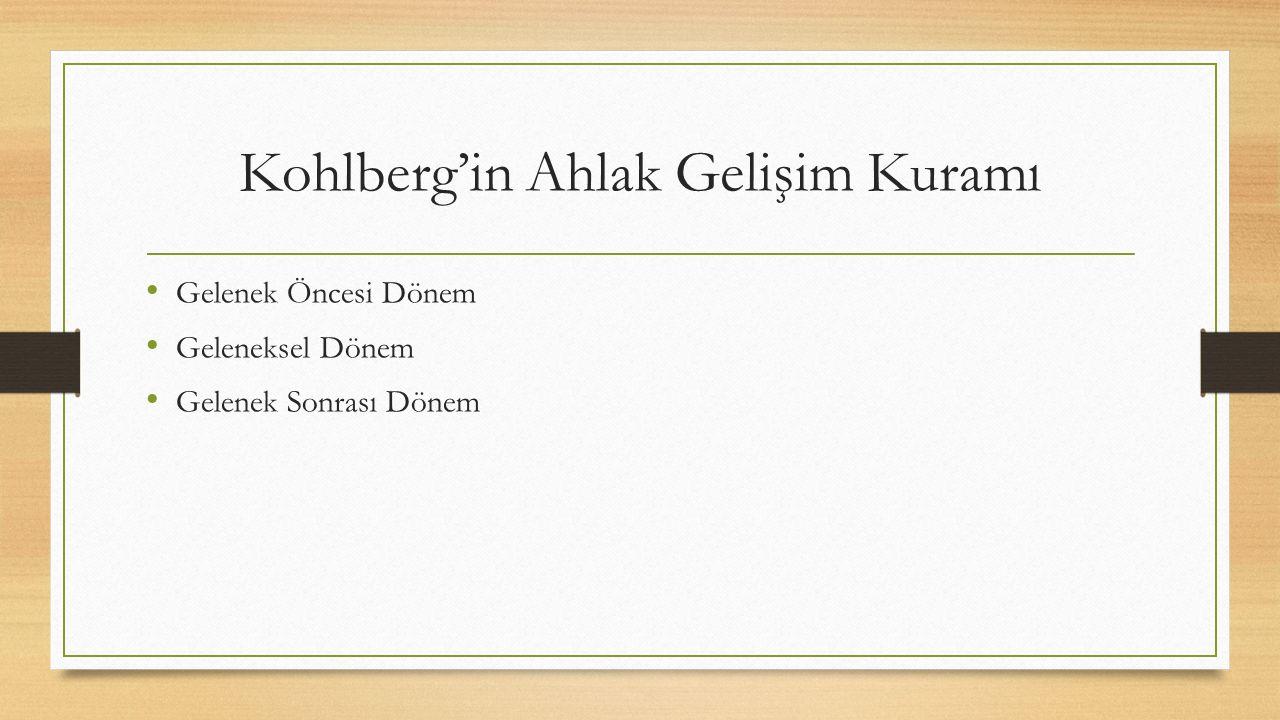 Kohlberg'in Ahlak Gelişim Kuramı Gelenek Öncesi Dönem Geleneksel Dönem Gelenek Sonrası Dönem