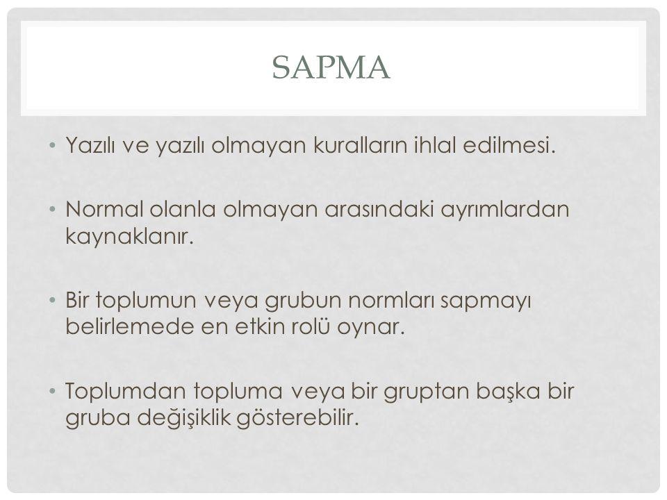 SAPMA Yazılı ve yazılı olmayan kuralların ihlal edilmesi. Normal olanla olmayan arasındaki ayrımlardan kaynaklanır. Bir toplumun veya grubun normları
