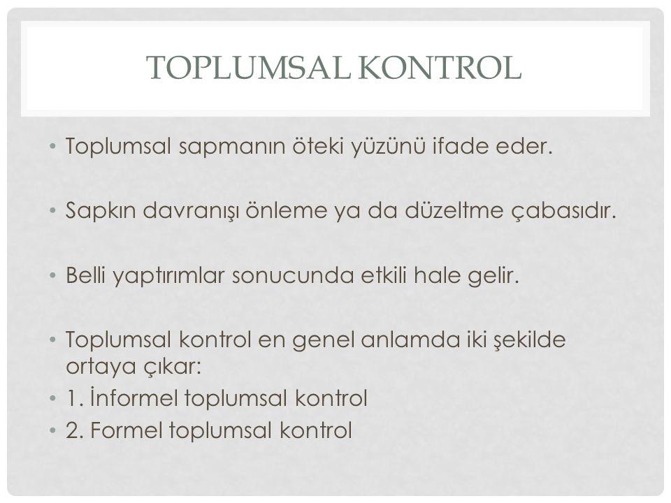 INFORMEL TOPLUMSAL CONTROL Toplumun normlarına ve değerlerine uyum sağlamaya yönelik dolaylı ve resmi olmayan baskılardır.