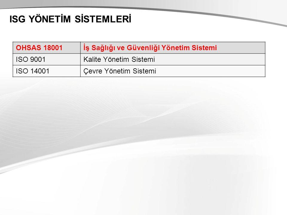 ISG YÖNETİM SİSTEMLERİ OHSAS 18001İş Sağlığı ve Güvenliği Yönetim Sistemi ISO 9001Kalite Yönetim Sistemi ISO 14001Çevre Yönetim Sistemi