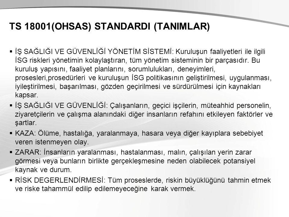 TS 18001(OHSAS) STANDARDI (TANIMLAR)  İŞ SAĞLIĞI VE GÜVENLİĞİ YÖNETİM SİSTEMİ: Kuruluşun faaliyetleri ile ilgili İSG riskleri yönetimin kolaylaştıran, tüm yönetim sisteminin bir parçasıdır.