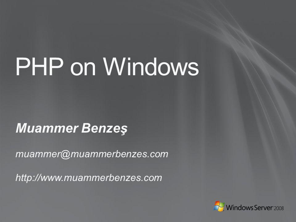 AJANDA PHP Community için Microsoft desteği Community katkıları SQL Server Driver for PHP IIS 7.0 ve PHP FastCGI IIS ile PHP'yi yükseltmek.NET ile PHP'yi genişletmek