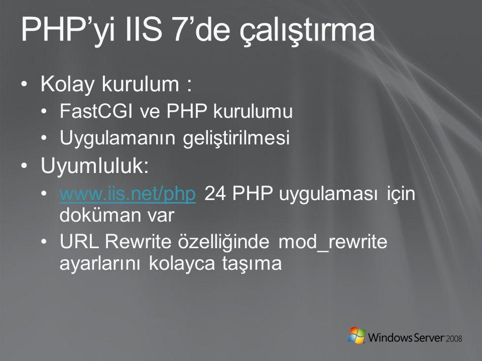 PHP'yi IIS 7'de çalıştırma Kolay kurulum : FastCGI ve PHP kurulumu Uygulamanın geliştirilmesi Uyumluluk: www.iis.net/php 24 PHP uygulaması için doküman varwww.iis.net/php URL Rewrite özelliğinde mod_rewrite ayarlarını kolayca taşıma