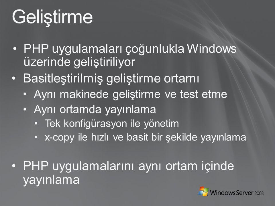 Geliştirme PHP uygulamaları çoğunlukla Windows üzerinde geliştiriliyor Basitleştirilmiş geliştirme ortamı Aynı makinede geliştirme ve test etme Aynı ortamda yayınlama Tek konfigürasyon ile yönetim x-copy ile hızlı ve basit bir şekilde yayınlama PHP uygulamalarını aynı ortam içinde yayınlama
