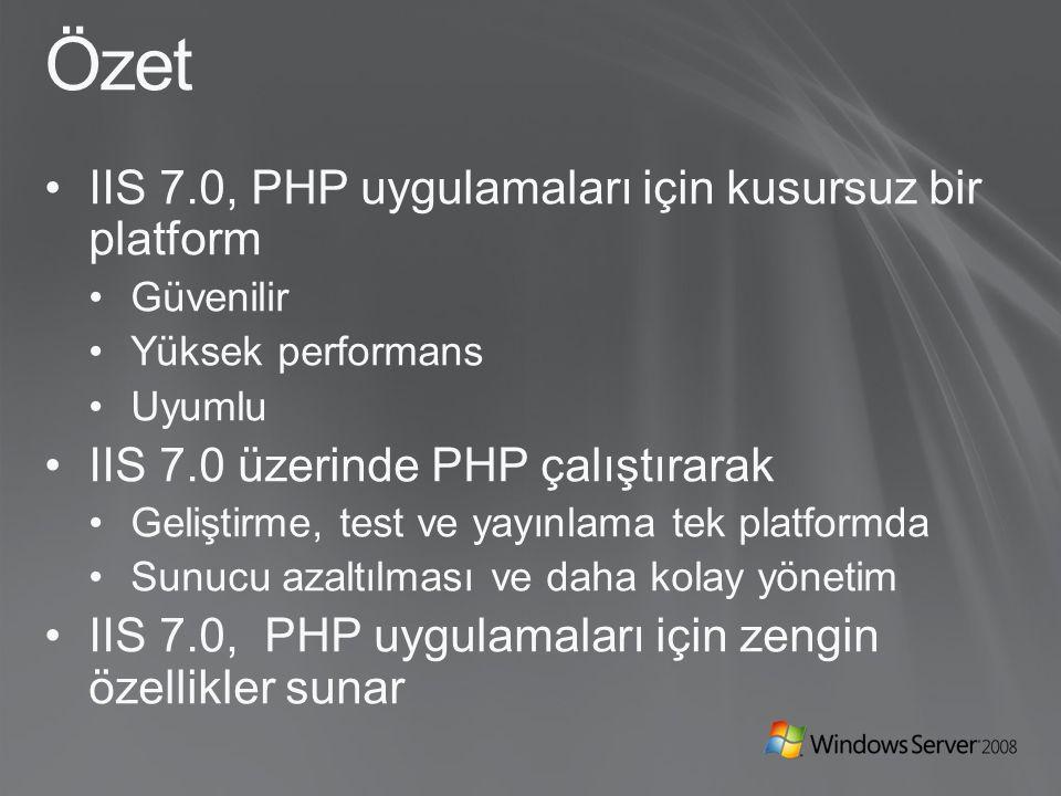 Özet IIS 7.0, PHP uygulamaları için kusursuz bir platform Güvenilir Yüksek performans Uyumlu IIS 7.0 üzerinde PHP çalıştırarak Geliştirme, test ve yayınlama tek platformda Sunucu azaltılması ve daha kolay yönetim IIS 7.0, PHP uygulamaları için zengin özellikler sunar