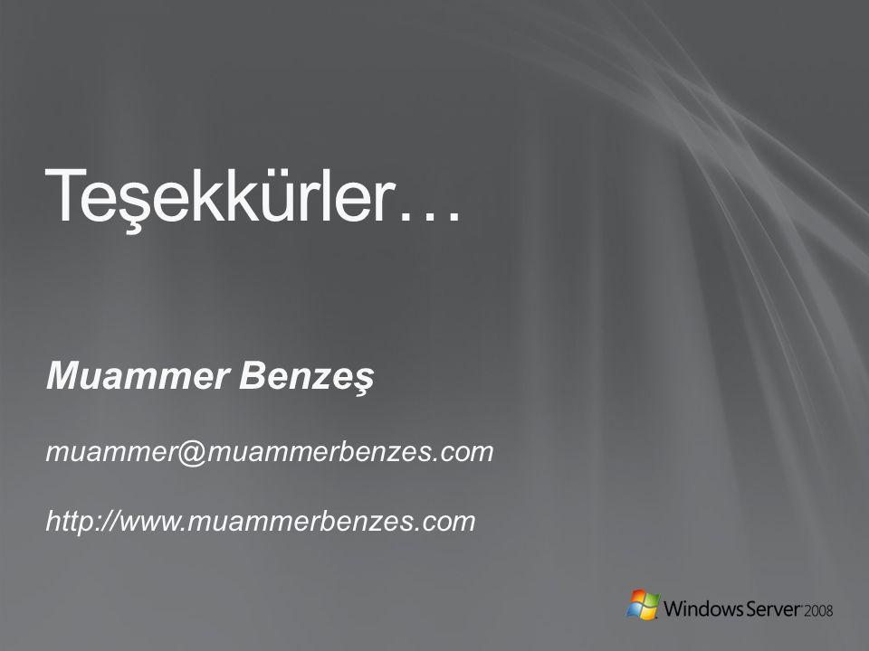 Teşekkürler… Muammer Benzeş muammer@muammerbenzes.com http://www.muammerbenzes.com